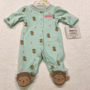 Carter's Girls Preemie Footie w/ Monkeys NWT